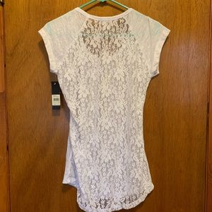 NWT Women's size L white tee with lace back fits M